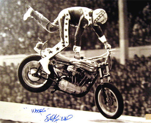 Evel Knievel Signed 16x20 Photo Wembley Crash With