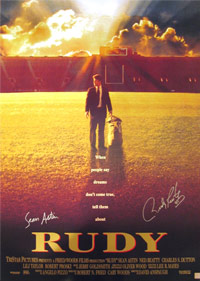 Sean Astin & Rudy Ruetiger Signed RUDY Movie Poster