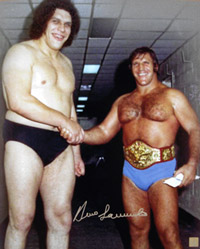 Bruno Sammartino Signed 16x20 Photo With Andre The Giant