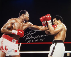 Larry Holmes Signed 16x20 Photo vs Muhammad Ali