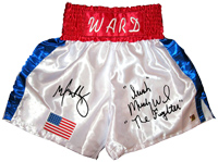"Mark Wahlberg & ""Irish"" Micky Ward ""The Fighter"" Signed Boxing Trunks"
