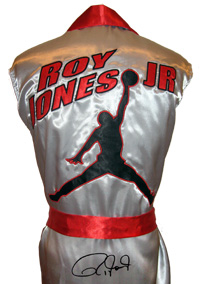 Roy Jones Jr. Autographed Silver Boxing Robe