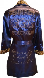 "Gennady ""GGG\"" Golovkin Autographed Navy Blue Boxing Robe"