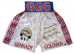 "Gennady ""GGG\"" Golovkin Autographed White Red & Blue Boxing Trunks"