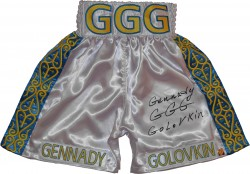 "Gennady ""GGG\"" Golovkin Autographed White Boxing Trunks"
