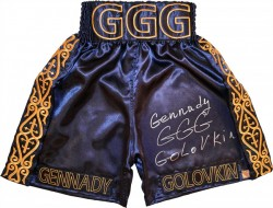 "Gennady ""GGG\"" Golovkin Autographed Navy Boxing Trunks"