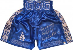 "Gennady ""GGG\"" Golovkin Autographed Dodger Blue Boxing Trunks"