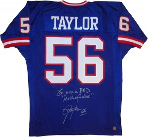 "Lawrence Taylor ""LT WAS A BAD MOTHERFUCKER"" Autographed Blue New York Giants Football Jersey"