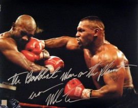 """The Baddest Man On The Planet"" Iron Mike Tyson Signed 16x20 Photo Punching Evander Holyfield"