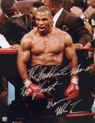 """The Baddest Man On The Planet"" Iron Mike Tyson Signed 16x20 Photo In Rage"