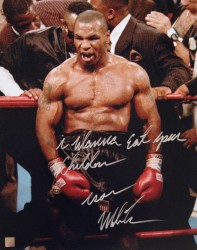 """I Wanna Eat Your Children"" Iron Mike Tyson Signed 16x20 Photo In Rage"