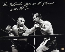 """The Baddest Man On The Planet"" Iron Mike Tyson Autographed 16x20 Photo vs Rocky Marciano"