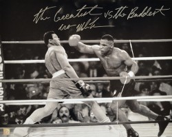 """The Greatest vs The Baddest"" Iron Mike Tyson Autographed 16x20 Photo vs Muhammad Ali"