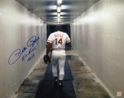 Pete Rose Walking in Locker Room Autographed 16x20 Photo