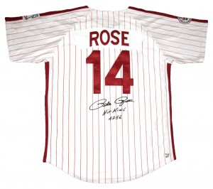 Pete Rose Hit King #4256 Autographed Official MLB Philadelphia Phillies Jersey