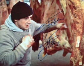 "Sylvester Stallone Autographed ROCKY 16x20 Photo ""HITTING THE MEAT"""