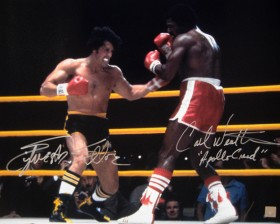 Sylvester Stallone & Carl Weathers Autographed ROCKY II 16x20 Photo