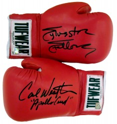 Carl Weathers & Sylvester Stallone Autographed Tuf Wear Red Boxing Gloves