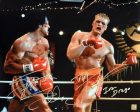 "Sylvester Stallone & Dolph Lundgren ""Ivan Drago"" Autographed ROCKY IV 16x20 Photo"
