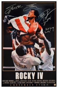 "Sylvester Stallone, Dolph Lundgren ""Ivan Drago"" & Burt Young ""Paulie"" Autographed ROCKY IV 24x36 Movie Poster"
