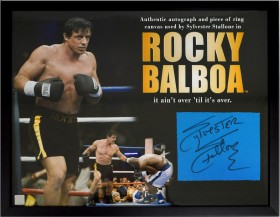 Sylvester Stallone Autographed Framed 16x20 Photo & Screen Used Ring Canvas From Rocky Balboa