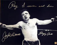 "Jake LaMotta Raging Bull Autographed 16x20 Photo With ""Ray I Never Went Down"" Inscription"