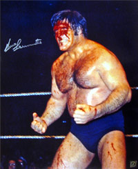 Bruno Sammartino Autographed 16x20 Blood Photo