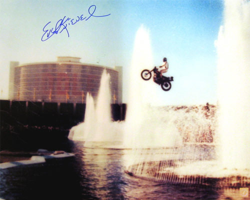 Evel Knievel Autographed 16x20 Photo Jumping Caesars Palace