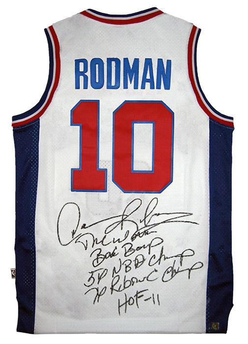 uk availability 37c91 19168 Dennis Rodman Autographed Official NBA White Pistons Stat ...