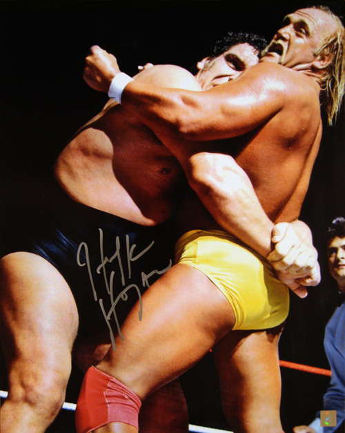 Hulk Hogan Autographed 16x20 Photo vs Andre The Giant