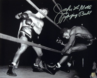 Jake LaMotta Raging Bull Autographed 16x20 Photo Knocking Sugar Ray Robinson Out Of The Ring