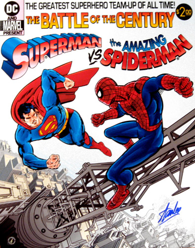 Stan Lee Autographed Spiderman vs. Superman 16x20 Photo