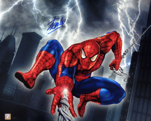 Stan Lee Autographed Spiderman Web Slinger 16x20 Photo