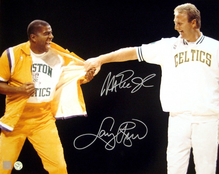 buy online ce335 138ee Magic Johnson and Larry Bird Signed 16x20 Retirement Photo ...