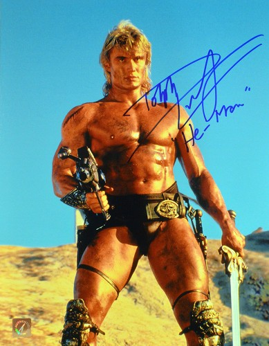 "Dolph Lundgren ""He-Man"" Autographed Masters Of The Universe 11x14 Photo ""Holding Gun"""