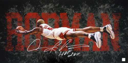 Dennis Rodman HOF 2011 Autographed The Dive 15x30 Photo