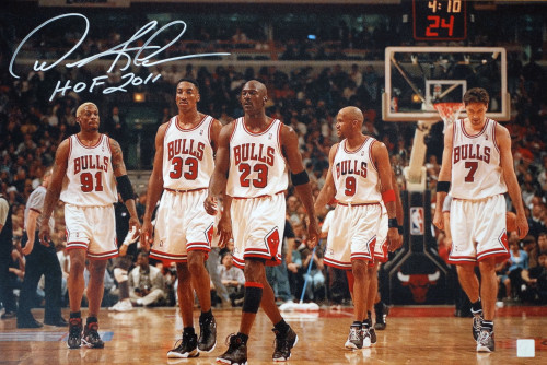 Dennis Rodman HOF 2011 Autographed Bulls Team 16x24 Photo