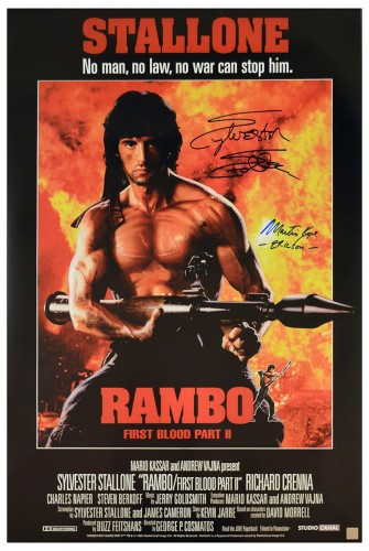Sylvester Stallone & Martin Kove Autographed RAMBO II 24x36 Movie Poster