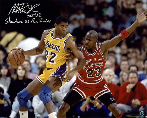 Magic Johnson Autographed 16x20 Photo vs. Michael Jordan