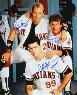 Charlie Sheen, Tom Berenger & Corbin Bernsen Autographed Major League 16x20 Photo