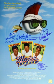 Charlie Sheen, Tom Berenger, Corbin Bernsen & Chelcie Ross Autographed Major League 11x17 Movie Poster