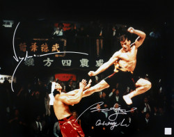 "Jean Claude Van Damme & Bolo Yeung ""Chong Li"" Autographed Flying Kick 16x20 Photo"