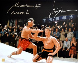"Jean Claude Van Damme & Bolo Yeung ""Chong Li"" Autographed Catching Punch 16x20 Photo"