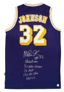 Magic Johnson Autographed Official NBA Purple Lakers Basketball Stat Jersey