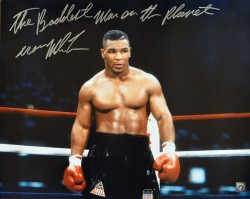 """The Baddest Man On The Planet"" Iron Mike Tyson Autographed 16x20 Photo Coming Out Of The Corner"