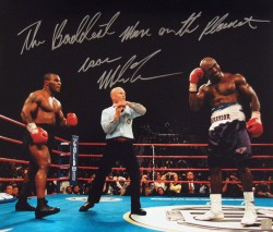 """The Baddest Man On The Planet"" Iron Mike Tyson Autographed 16x20 Photo Holyfield Bite"