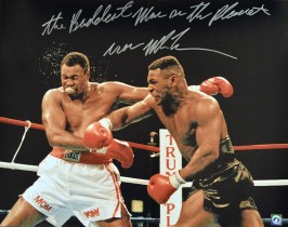 """The Baddest Man On The Planet"" Iron Mike Tyson Autographed 16x20 Photo vs Larry Holmes"