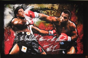 """The Baddest Man On The Planet"" Iron Mike Tyson Autographed 24X37 Canvas Print vs. Berbick"