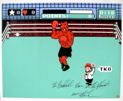 """The Baddest Man On The Planet"" Iron Mike Tyson Autographed 31x37 Canvas Punch Out"