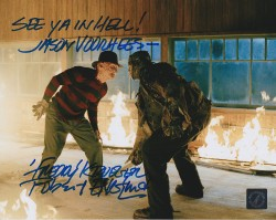 "Robert Englund Autographed ""See Ya Hell! Jason Voorhees"" Fire 8x10 Photo ASI Proof"